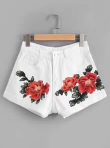 Pantaloncini di jeans con fondo con risvolto