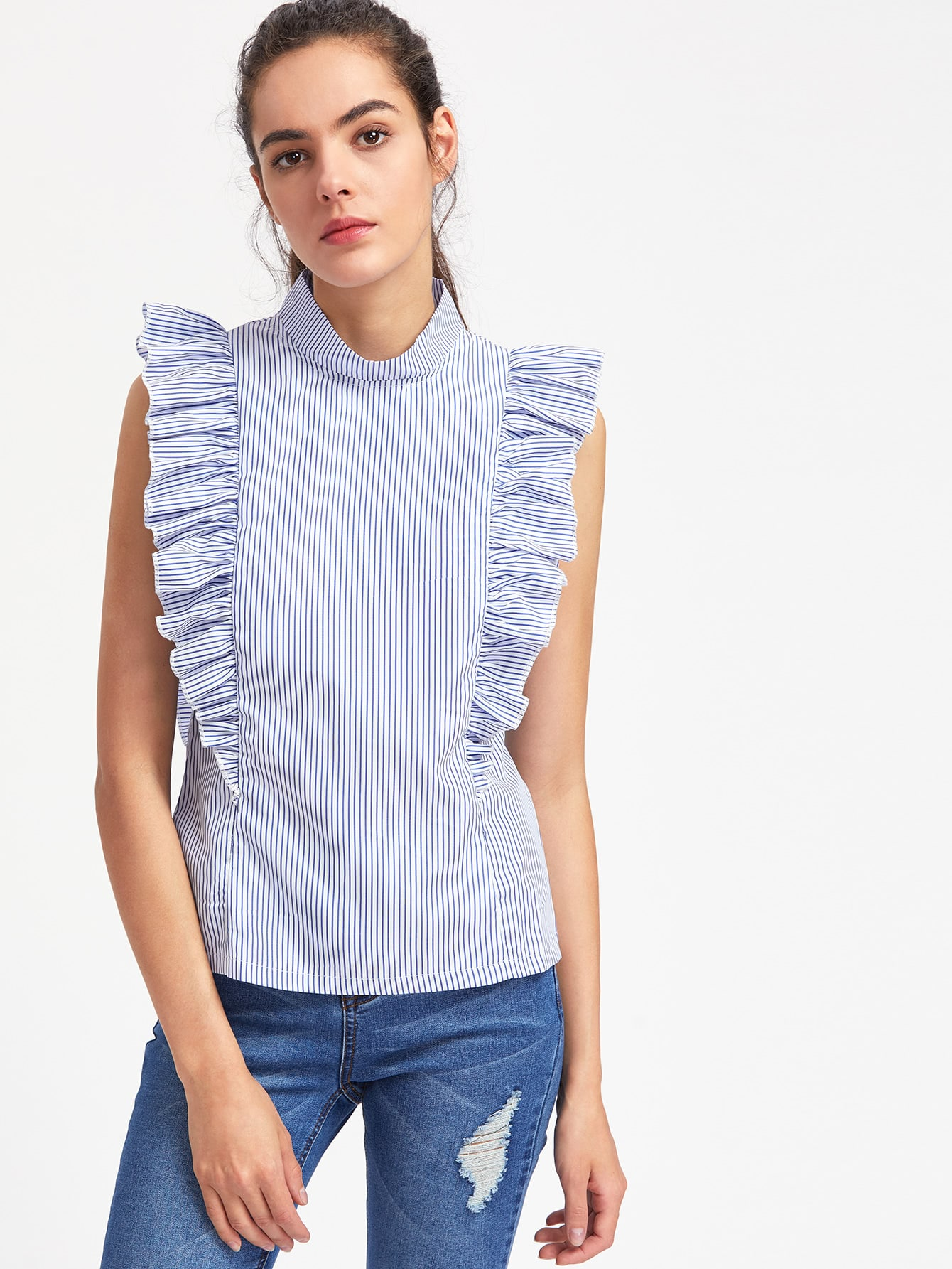 Vertical Striped Exaggerated Frill Trim Top blouse170510106