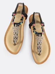Embellished Braided Thong Sandals BLACK