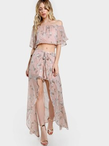 Off Shoulder Floral Print Crop & Matching Shorts Set MAUVE