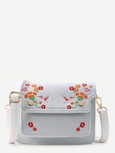 Flower And Bird Embroidery Denim Shoulder Bag