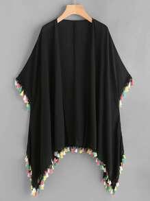 Colorful Tassel Trim Handkerchief Kimono