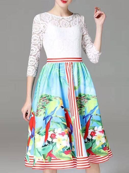 Фото Flowers Print A-Line Lace Dress. Купить с доставкой