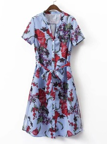 Grid Floral Print Tie Waist Shirt Dress