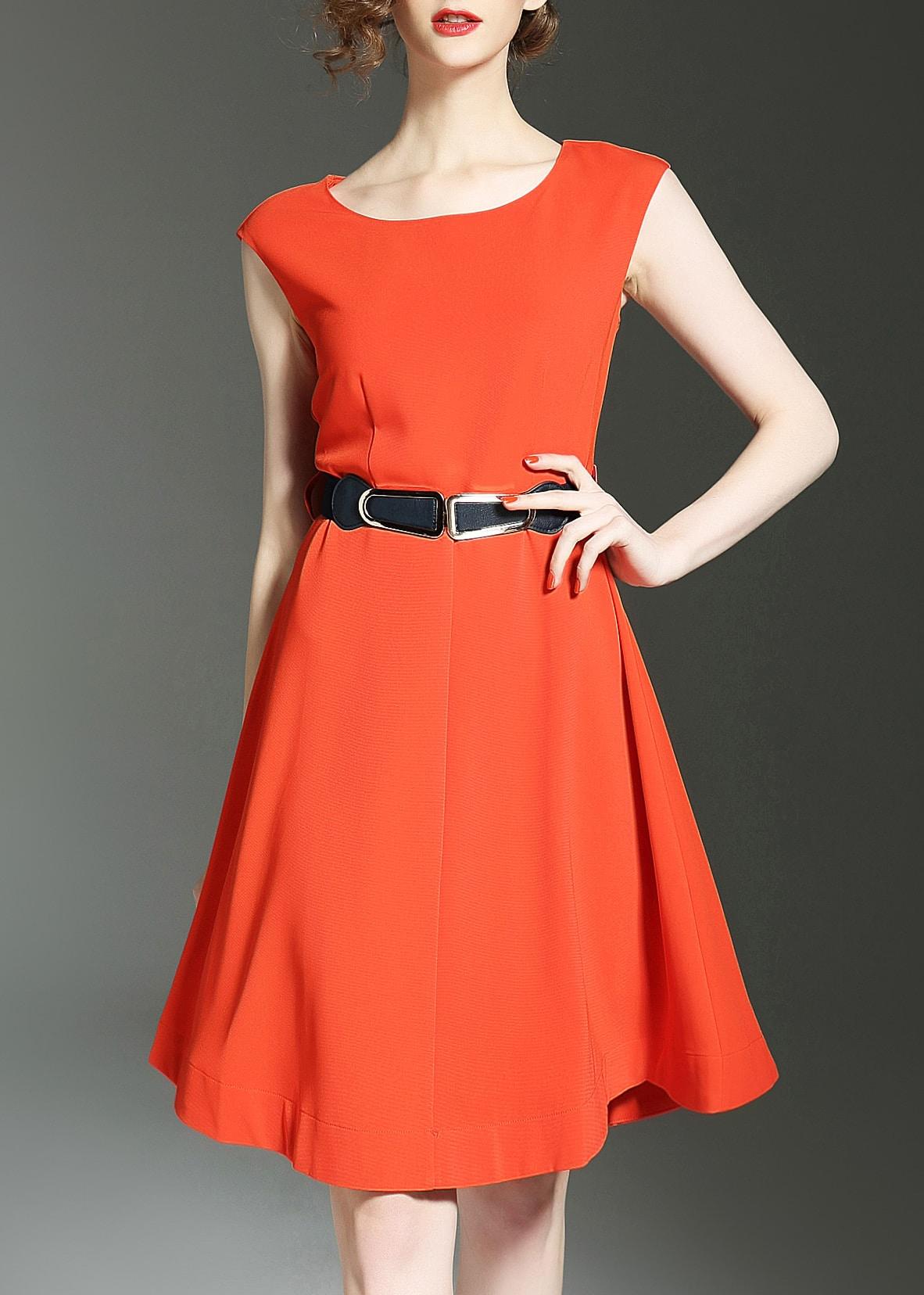 Фото Crew Neck Belted A-line Dress. Купить с доставкой