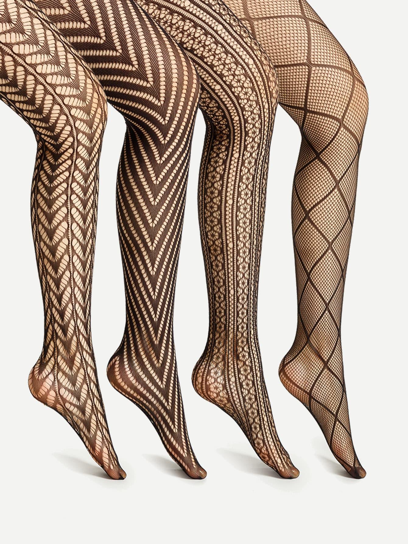 Фото Laser Cut & Geometric Pattern Tights 4 Pairs. Купить с доставкой
