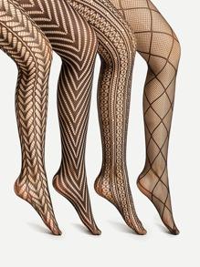 Collants imprimé géométrique 4 paires