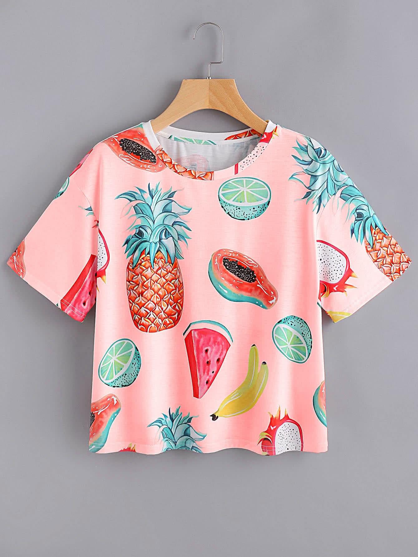 Allover Fruit Print T-shirt allover fruit print tee