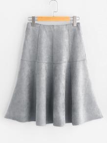 Suede Zipper Back A Line Skirt