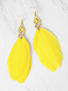 Feather Decorated Drop Earrings