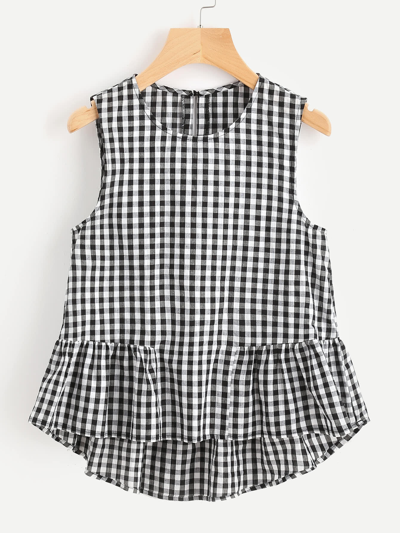 Buttoned Keyhole Tiered Hem Gingham Shell Top scallop ruffle hem buttoned keyhole back shell top