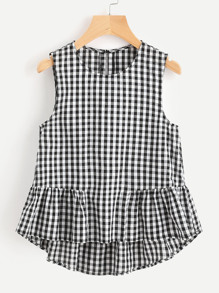 Buttoned Keyhole Tiered Hem Gingham Shell Top