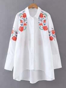 Flower Embroidery High Low Blouse