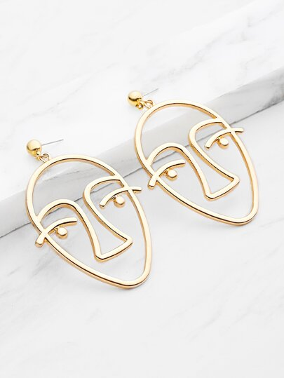 Metal Face Shaped Drop Earrings