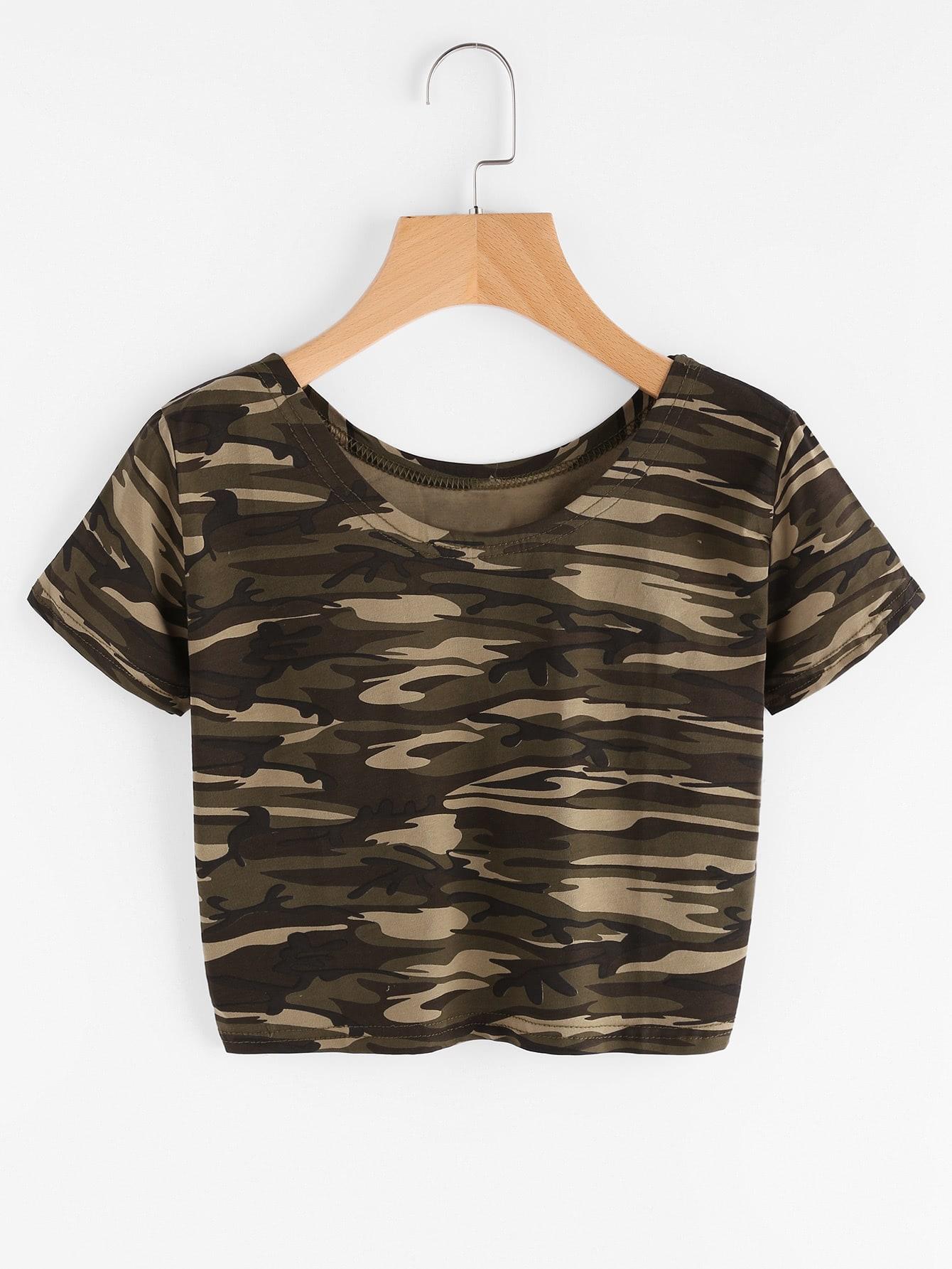 Camo Print Crop Tshirt striped longline tshirt