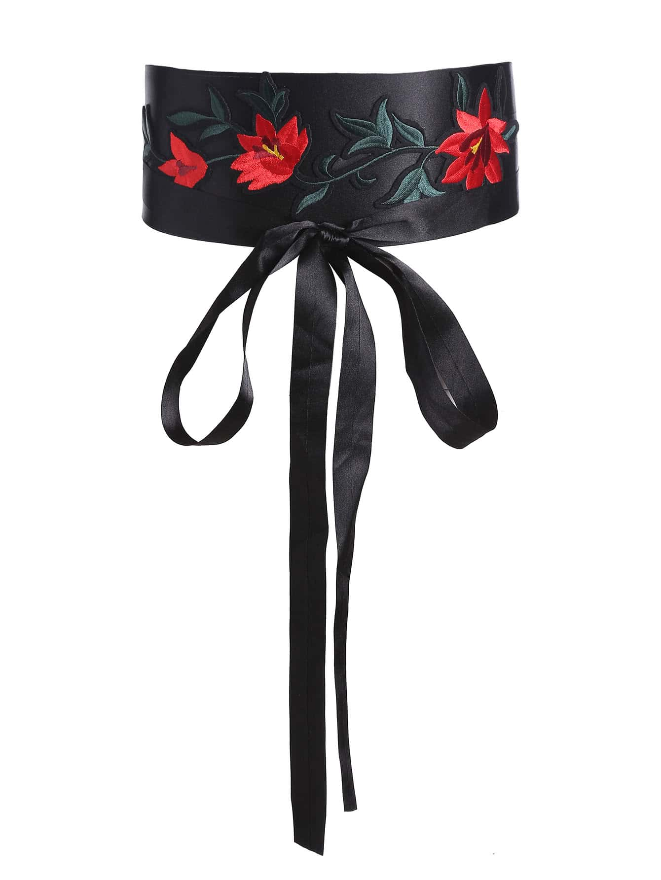 Flower Embroidery Bow Front Obi Belt