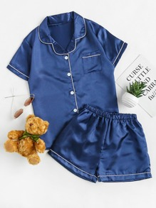Contrast Binding Revere Collar Satin Pajama Set