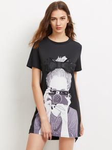 Girl Print Bow Detailed Dip Hem Dress
