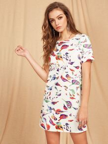 Allover Bird Print Tunic Dress