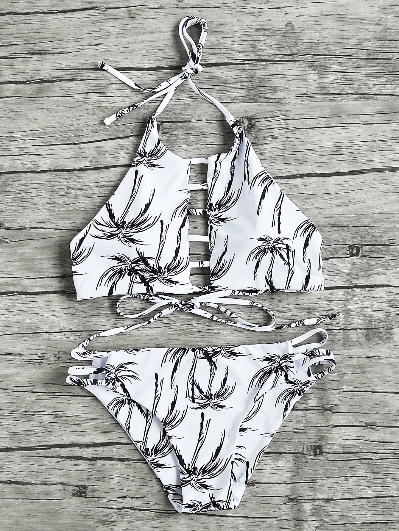 Plam Tree Ladder Cutout Halter Bikini Set