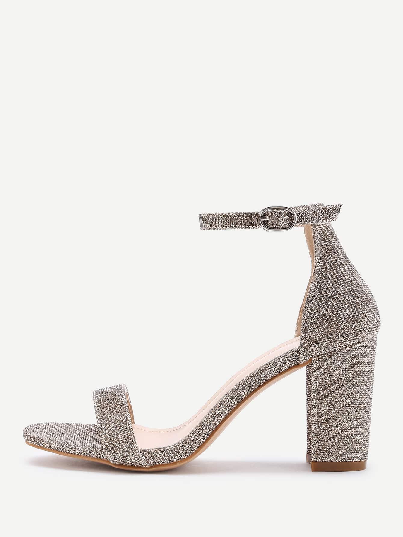 Фото Two Part Block Heeled Linen Sandals. Купить с доставкой