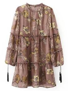 Kleid mit Borte, Quaste und Spalten hinten