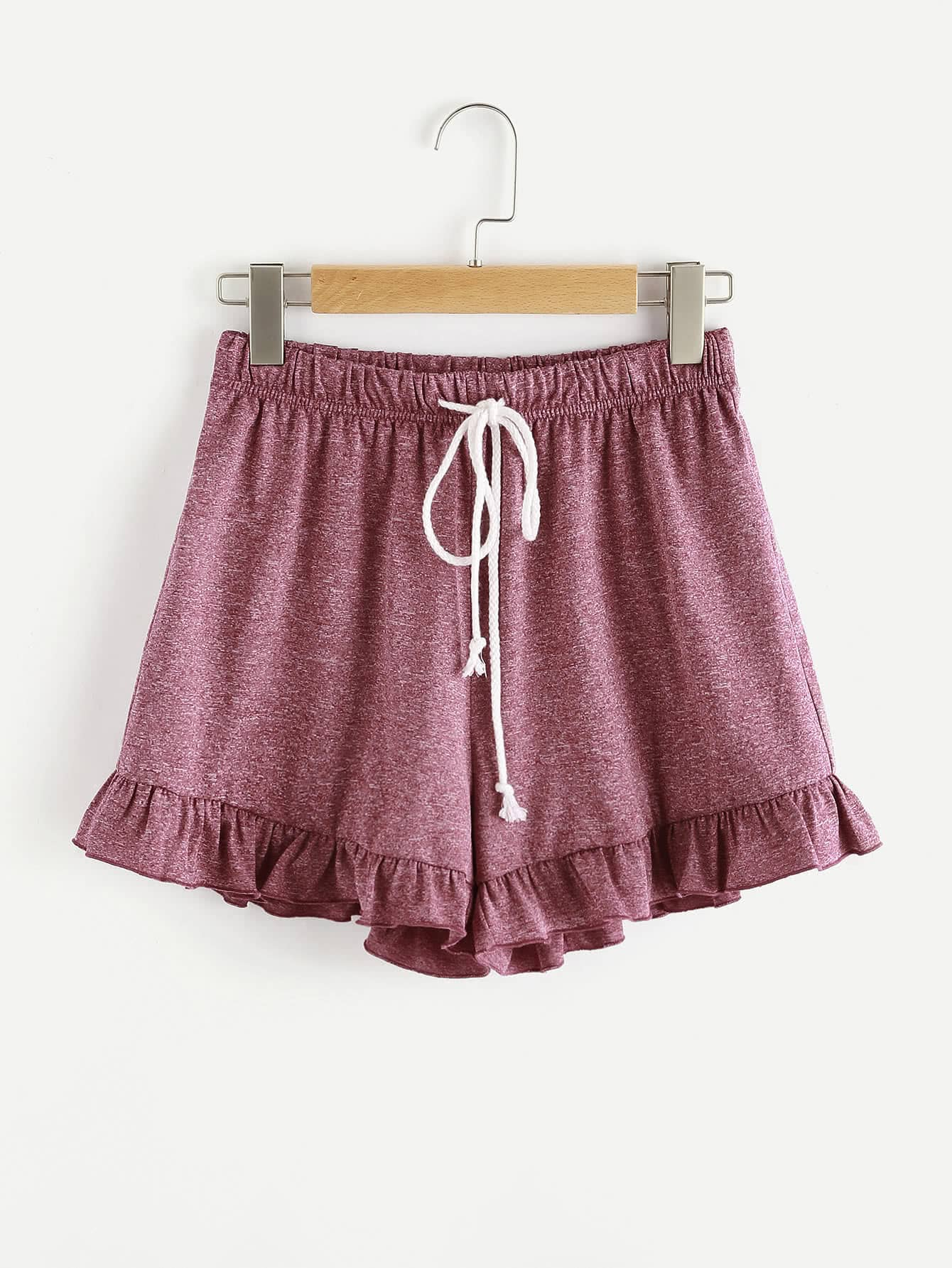 Marled Knit Drawstring Waist Frilled Sweat Shorts