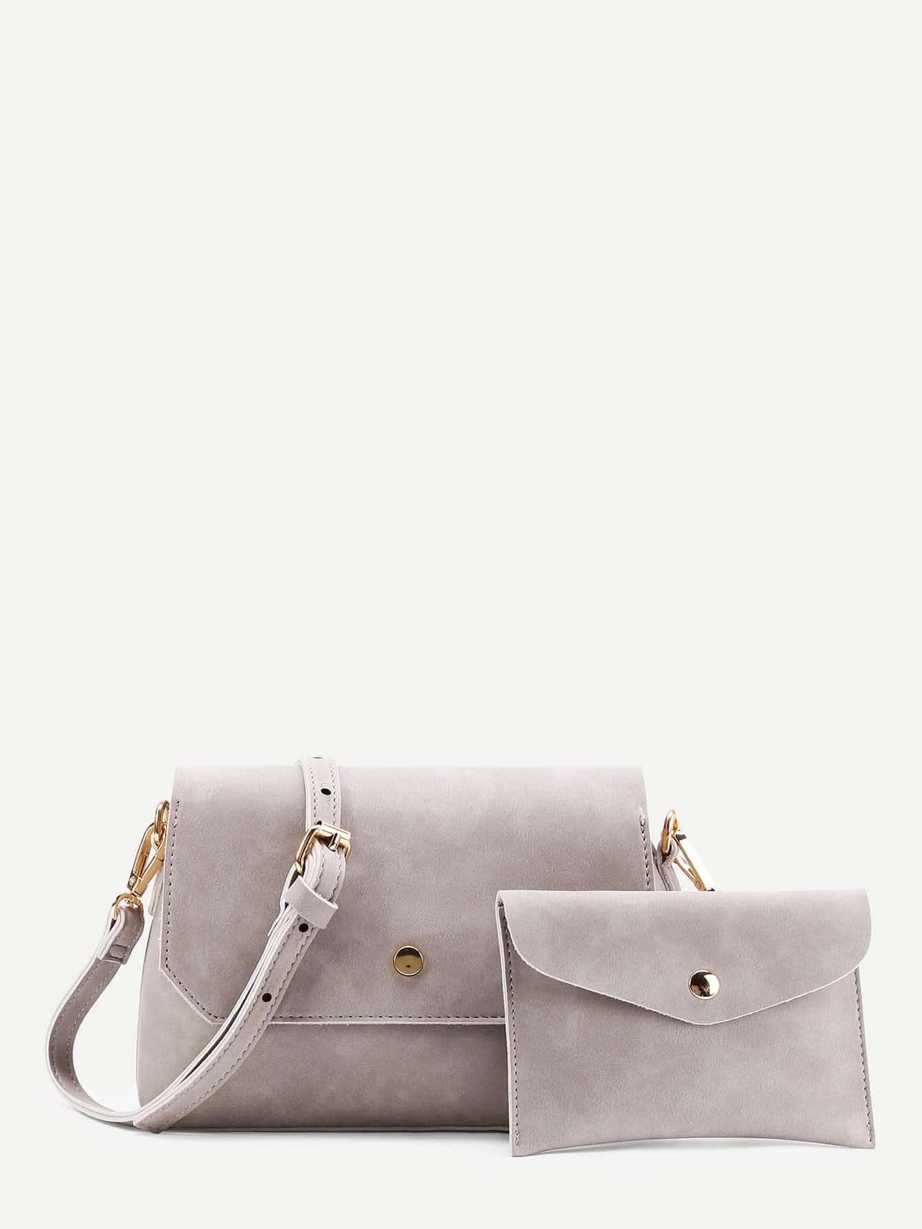 Фото Metal Detail Shoulder Bag With Clutch. Купить с доставкой