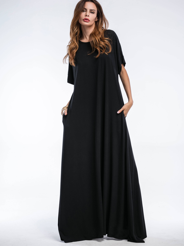 Shift Full Length Dress With Pockets dress170510104