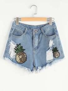 Pantaloncini di jeans con strappi