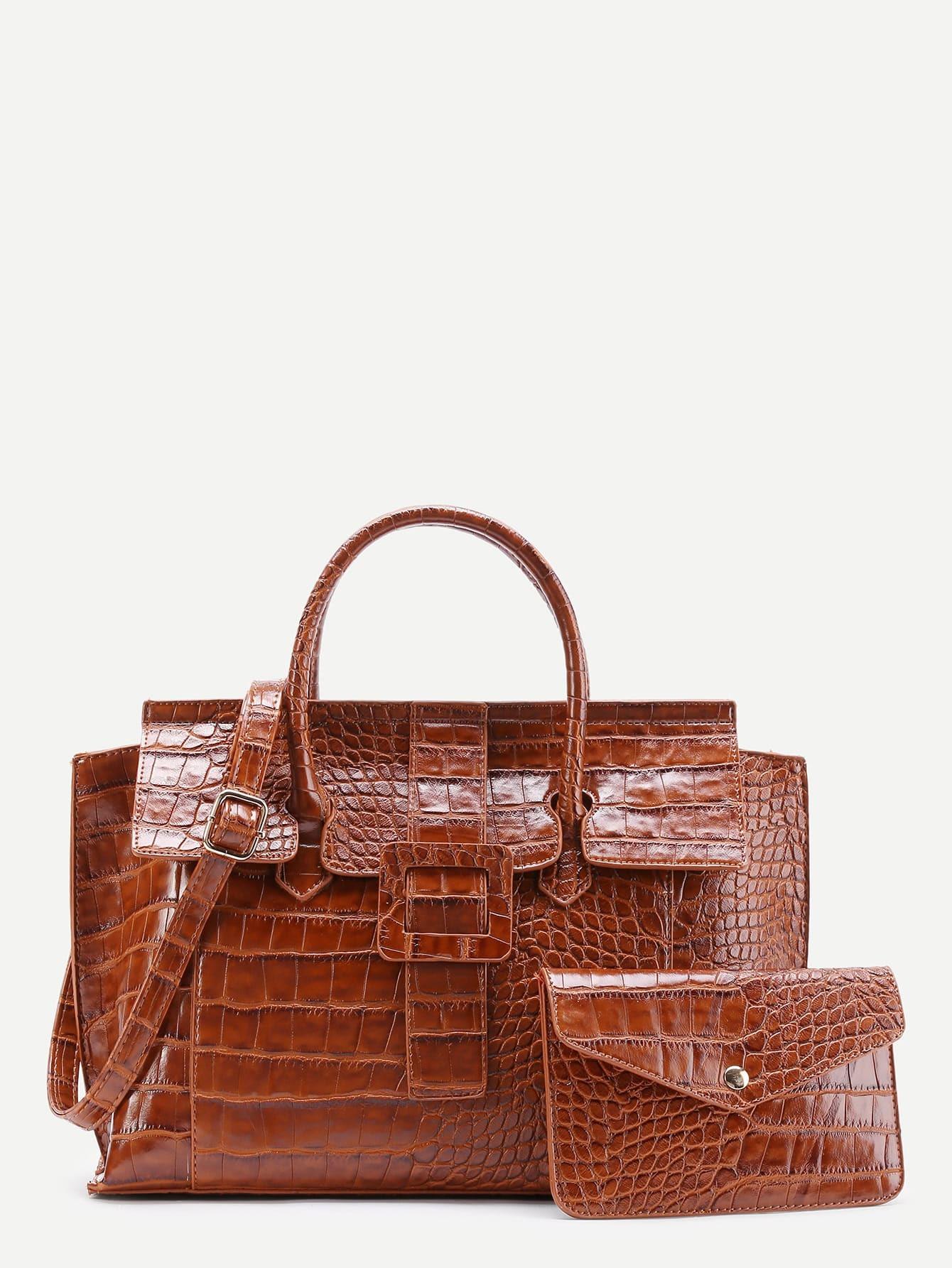 Фото Crocodile Embossed Grap Bag With Clutch. Купить с доставкой