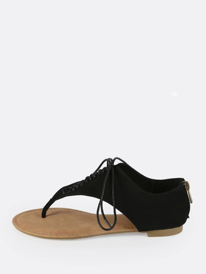 Lace Up Thong Sandals BLACK