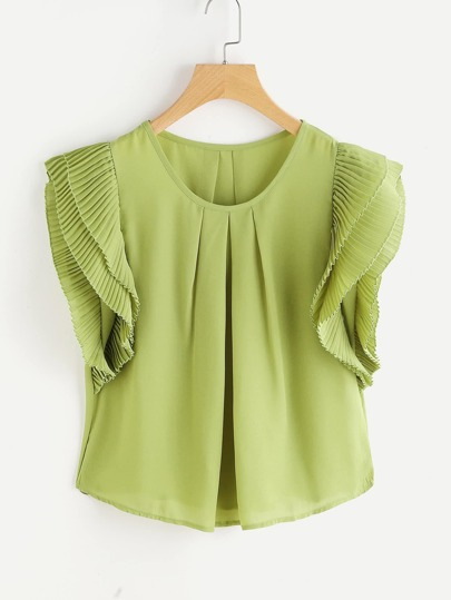 Chiffon Blouse With Tiered Organ Pleats