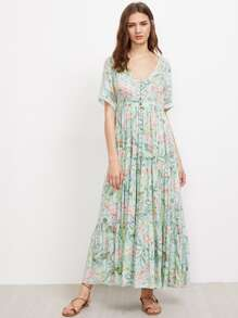 Tropical Print Buttons Front Layered Dress