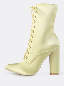 Satin Lace Up Booties YELLOW