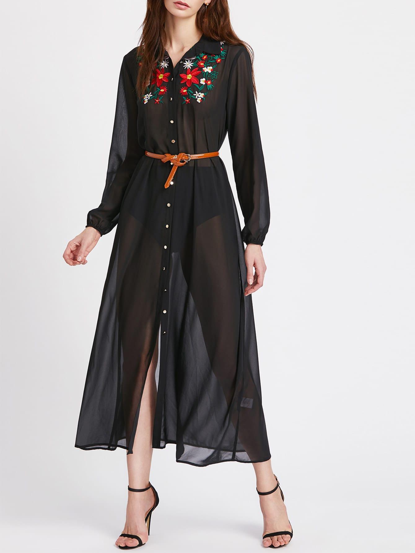 Фото Embroidered Yoke Elasticized Cuff Semi Sheer Shirt Dress. Купить с доставкой