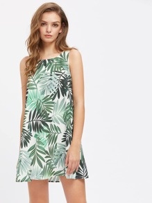 Leaf Print Self Tie Keyhole Back Dress
