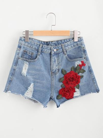 3D Applique Ripped Frayed Hem Denim Shorts