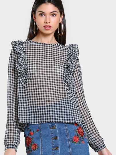 Gingham Ruffle Long Sleeve Top BLACK WHITE