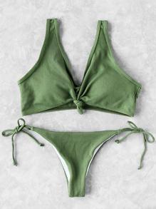 Knot Front Side Tie Bikini Set