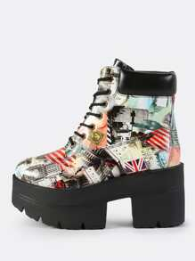 Multi Print Lace Up Booties MULTI