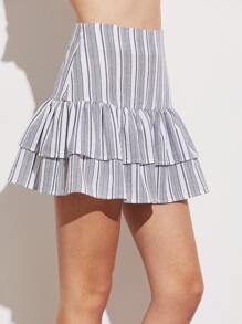 Drop Waist Tiered Striped Skirt