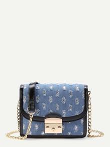 Distressed Denim Flap Crossbody Bag