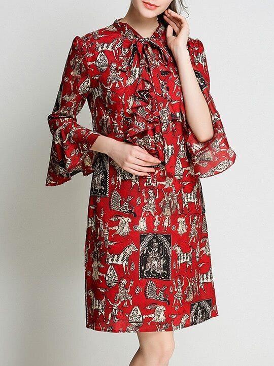 Фото Tie Neck Bell Sleeve Vintage Print Dress. Купить с доставкой