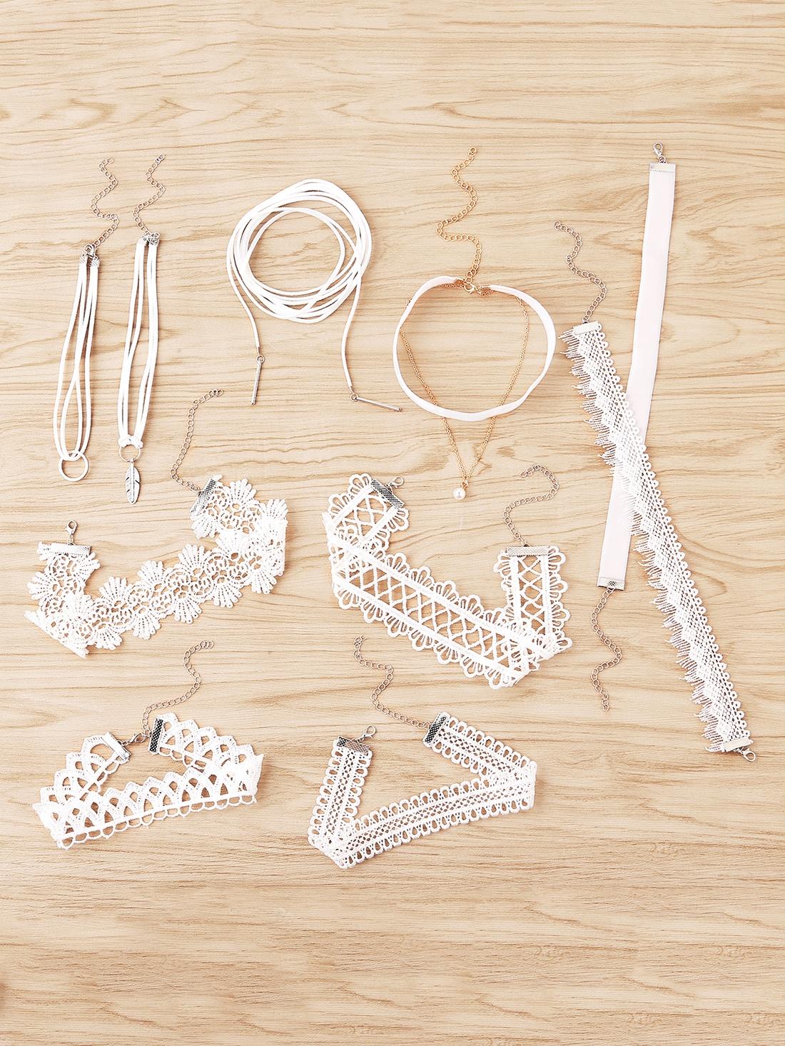 Lace Choker Necklace Set 10pcs 10pcs m66291