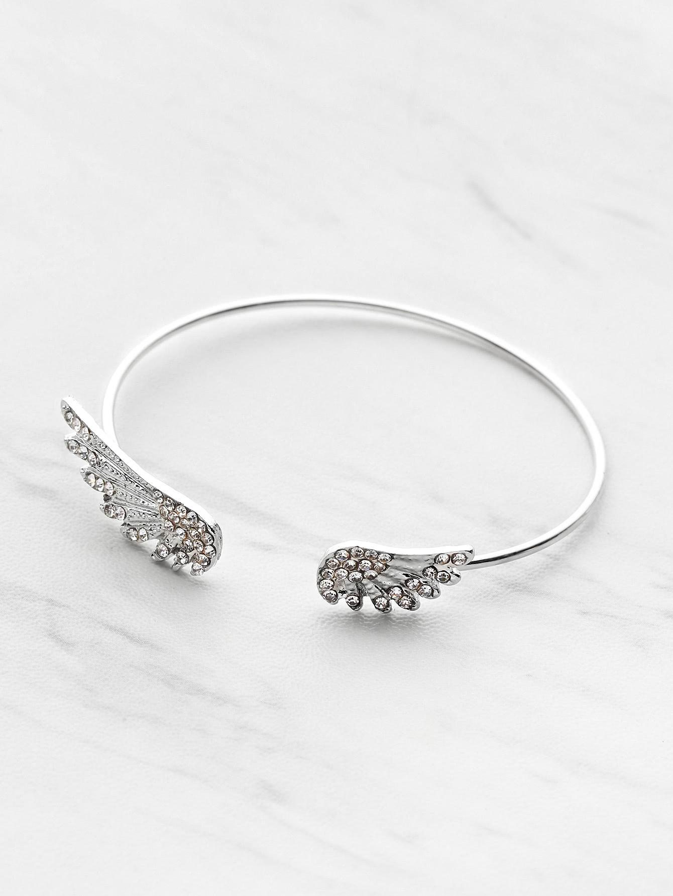 Rhinestone Embellished Wing Design Cuff Bracelet wing design chain bracelet