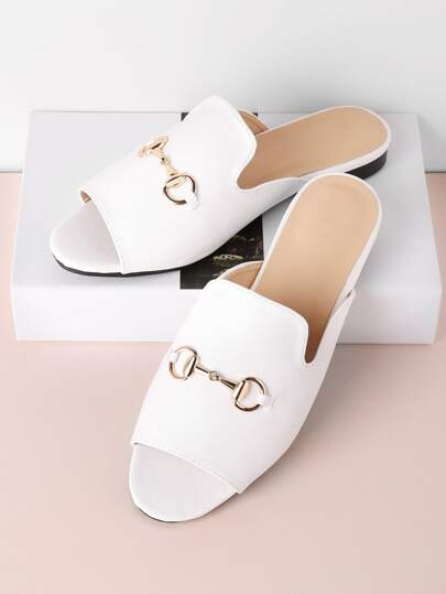 Metal Detail Plain PU Slippers