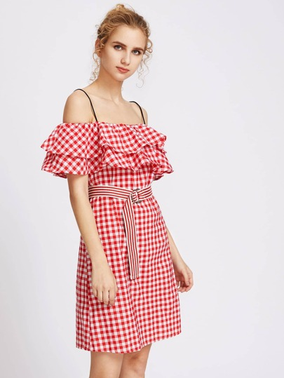 Cold Shoulder Layered Frill Gingham Self Ring Tie Dress