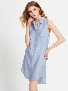Patch Pocket Front Dolphin Hem Shirt Dress