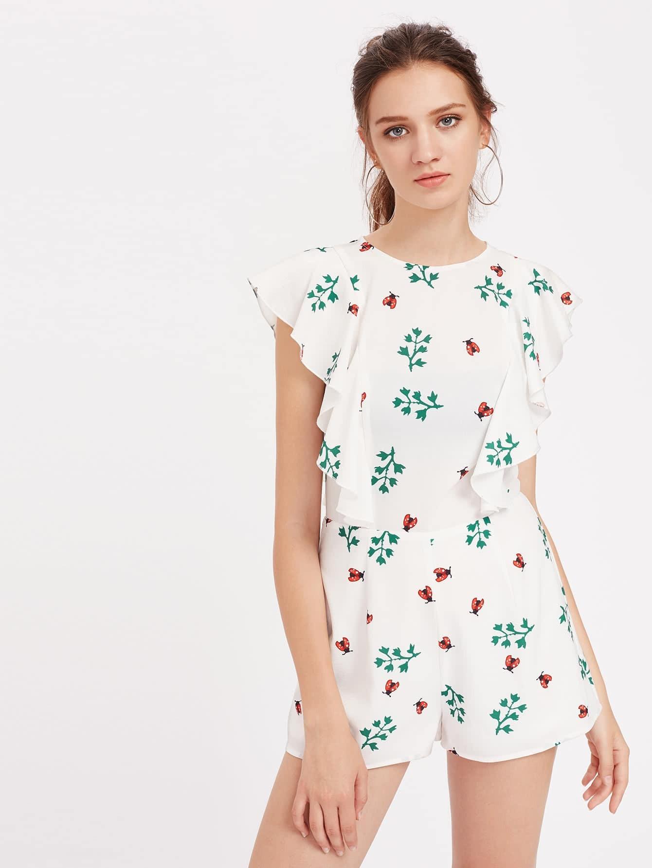 Ladybug Print Flutter Sleeve Tailored Romper embroidered flutter sleeve self belt romper